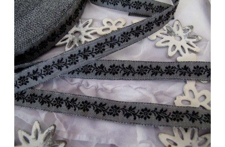 Webband Blumen schwarz grau