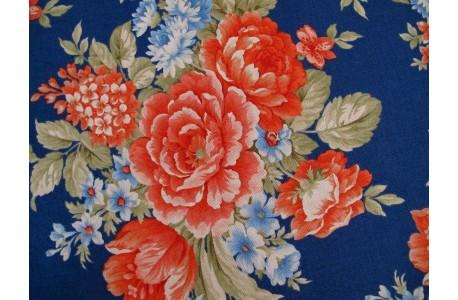 Stoff Rosen blau rot