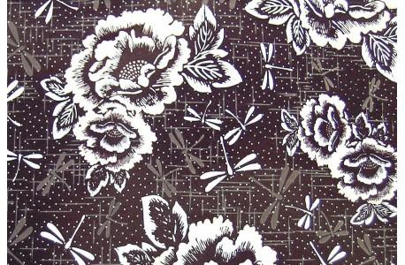 Stoff Blumen braun