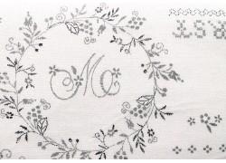 Stoff Buchstaben grau weiß
