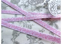 Webband Blumen rosa weiß