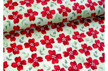 Stoff Blumen rot grün