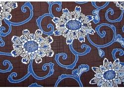 Stoff Blumen blau braun
