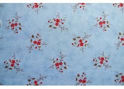 Stoff Blumen blau rot