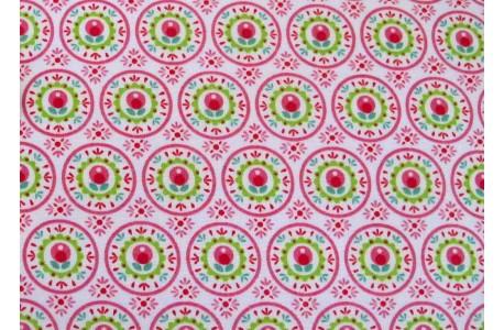 Stoff Blumen pink grün