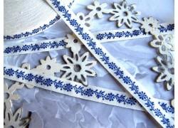 Webband Blumen dunkel blau