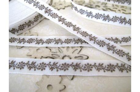 Webband Blumen grau weiß