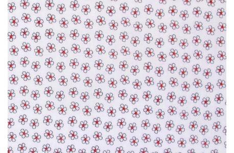 Stoff Blumen grau weiß