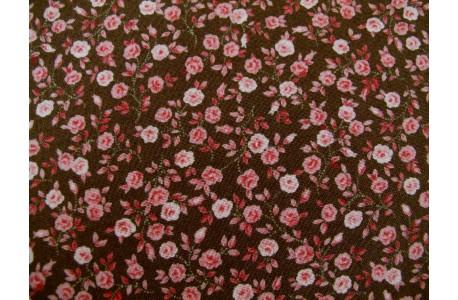 Stoff Röschen braun rosa
