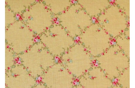 Stoff Röschen gelb rosa