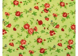Stoff Röschen grün himbeer