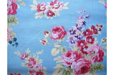 Stoff Rosen blau pink