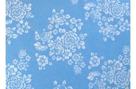 Stoff Rosen blau weiß