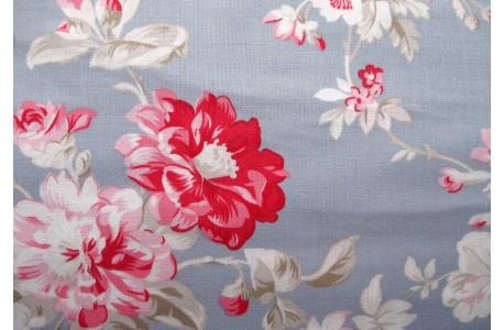 Stoff Blumen blau pink