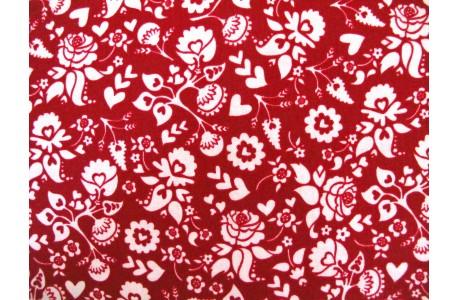 Stoff Blumen rot rosa