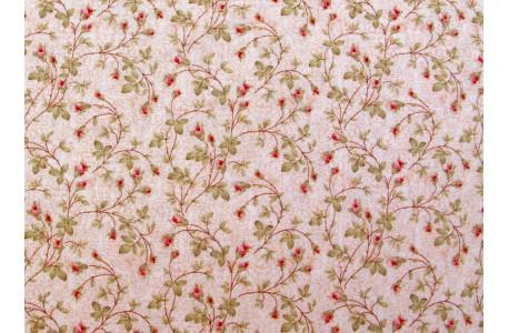 Stoff Blumenranken rosa