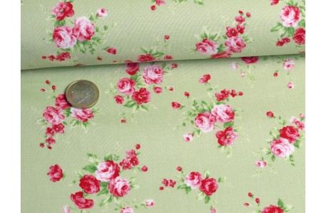 Stoff Rosen grün rosa