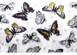 Stoff Schmetterlinge schwarz