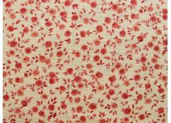 Stoff Streublümchen rot creme