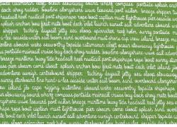 Stoff Schrift grün