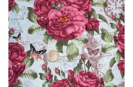 Stoff Rosen Schmetterlinge pink