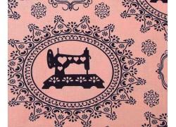 Stoff Nähmaschinen rosa schwarz