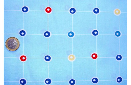 Stoff Punkte blau rot grün gelb
