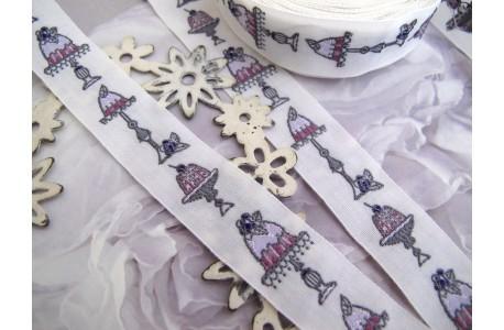 Webband Törtchen lila grau