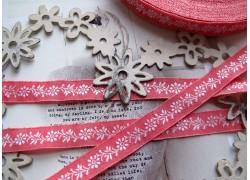 Webband Blumenapricot rosa weiß