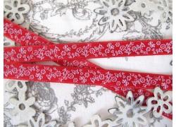 Webband Blumen rot weiß
