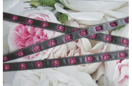 Webband Rosen pink grau