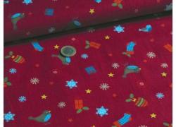 Stoff Weihnachten rot blau
