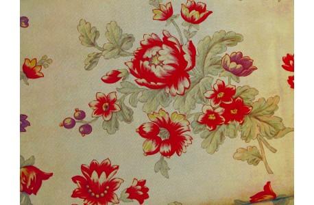Stoff Blumen beige rot