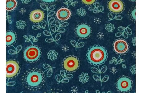 Stoff Blumen blau