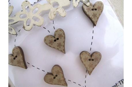 Holzknöpfe Herzchen beige