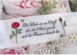 Aufnäher Label Gedicht Rosen