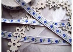 Webband Röschen blau