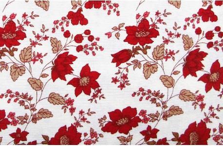 Stoff Blumen rot creme