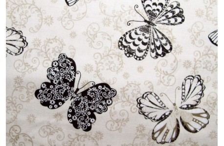 Stoff beige Schmetterlinge