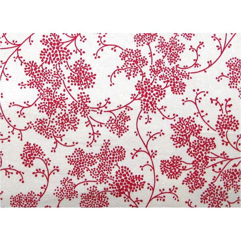 Blumenstoff Rot Weiss Baumwollstoff Hettyrosepatch