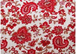 Stoff Blumen rot weiß