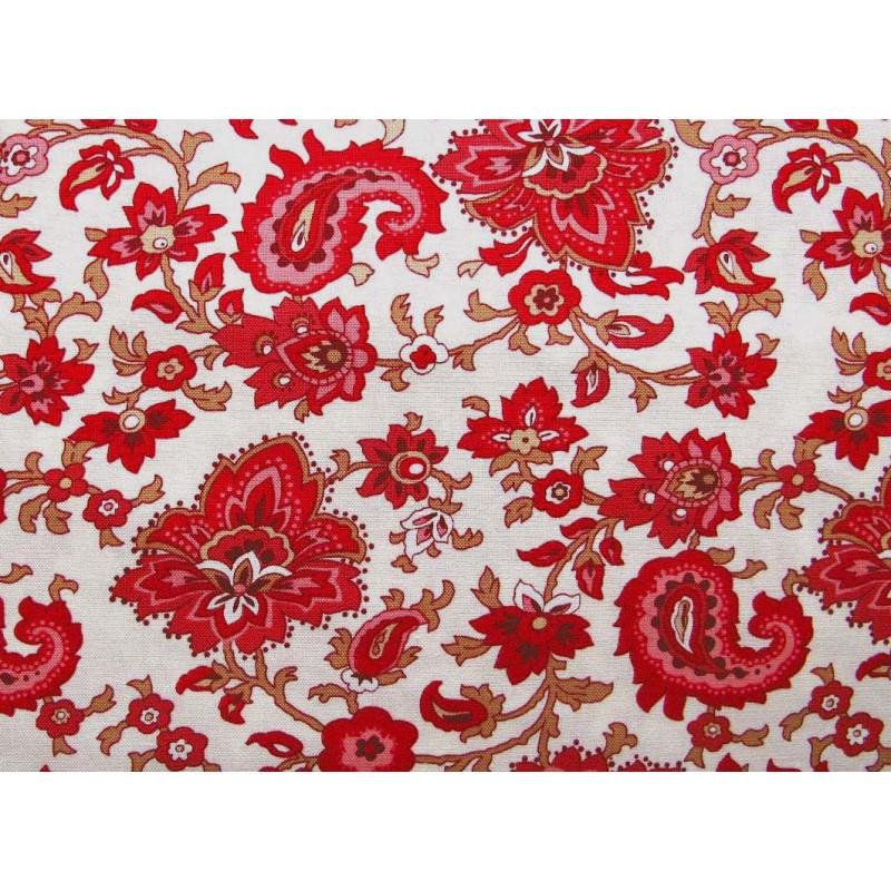Blumenstoff Rot Weiss Patchworkstoff Hettyrosepatch