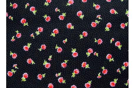 Stoff Rosen schwarz rot
