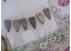 Holzknöpfe Herzchen blau grün