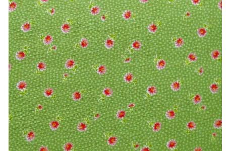 Stoff Blümchen grün rosa