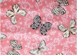 Stoff rosa Schmetterlinge