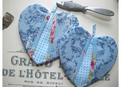 Topflappen  Herz blau