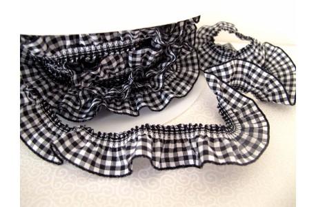 Rüschenband schwarz weiß