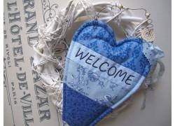 Dekoherz aus Stoff blau Welcome