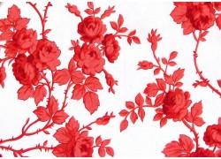 Stoff Rosenranken rot weiß